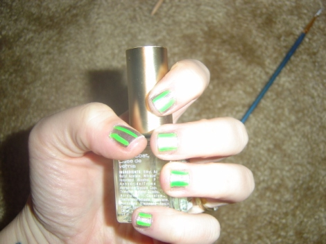 silver and green nails