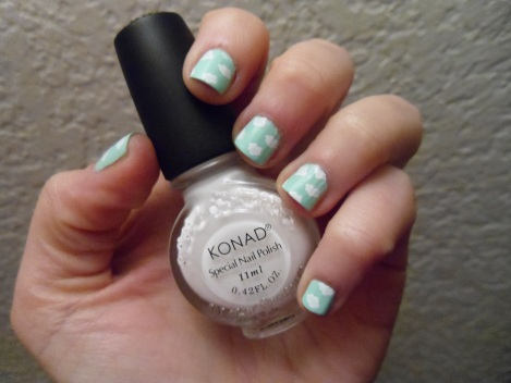Konad M79 plate over Sephora/Hello Kitty - Minty