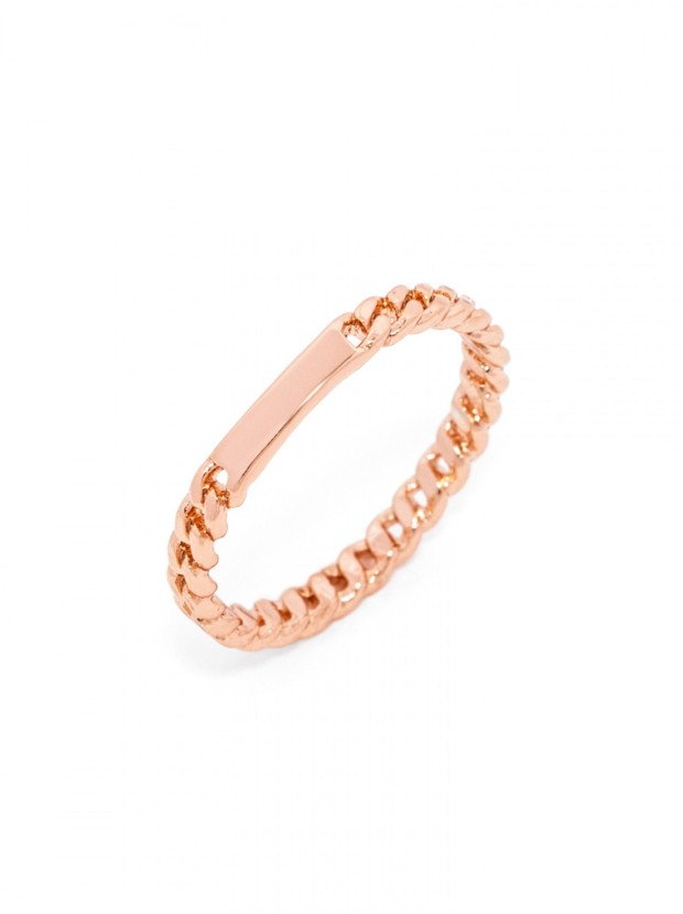 id tag rose gold ring 24